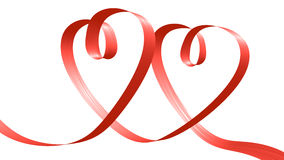 Free Red Ribbon In The Shape Of Two Hearts Royalty Free Stock Photo - 41257445