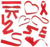 Red Ribbon (Isolated). Red ribbons design elements on white background Stock Photo