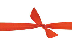 Red ribbon with knot. Royalty Free Stock Photos