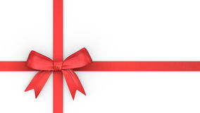 Red ribbon and knot for christmas gift Stock Photo