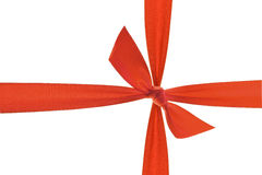 Red ribbon with knot. Macro Stock Photography