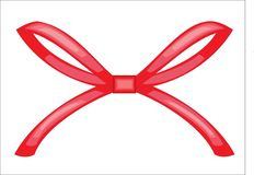 The red ribbon is knotted. Decoration for a gift for a wedding, for Valentine`s Day. Vector illustration stock illustration