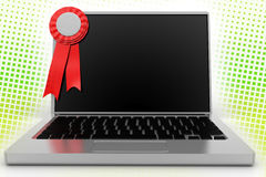 Red Ribbon and a Laptop In Halftone Background Royalty Free Stock Images