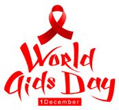 Red ribbon loop symbol World AIDS Day. Handwriting lettering calligraphy text Stock Images