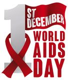 Red Ribbon over Date and Flag for World AIDS Day, Vector Illustration. Poster with a waving flag in the top of number one and a red ribbon around it for World Stock Image