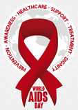 Red Ribbon over a Globe to Commemorate World AIDS Day, Vector Illustration. Poster with red ribbon symbol for World AIDS Day over a round button with map design Stock Photo
