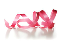 Red Ribbon Over White Stock Images