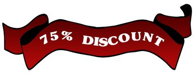Red ribbon with75 PERCENT DISCOUNT . Illustration graphic concept image Stock Photo