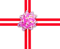 Red ribbon with pink bow. Red ribbon with pink gift bow with space for your text Stock Photography