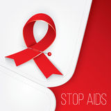 Red ribbon pinned to the collar of medical robe. Stop AIDS. The concept of the poster or web banner. Red ribbon pinned to the collar of medical robe. Stop AIDS royalty free illustration