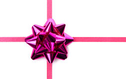 Red ribbon and purple bow Stock Photos