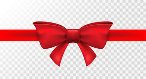 Red ribbon with red bow. Vector isolated bow decoration for holiday present. Gift element for card design.  Royalty Free Stock Photography