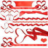 Red ribbon and red bow on white background Royalty Free Stock Photo