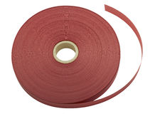 Red ribbon rolls on white Royalty Free Stock Images