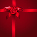 Red ribbon rose and bow Royalty Free Stock Image