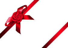 Red ribbon rose and bow Stock Images