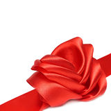 Red ribbon and rose bow Royalty Free Stock Photo