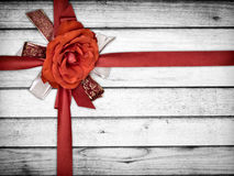 Ribbon Flower on Wood Royalty Free Stock Image