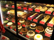 Red Ribbon`s Assorted Cakes. And pastries in a shop at SM San Jose del Monte City Mall, Bulacan, Philippines royalty free stock image