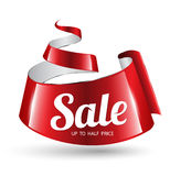 Red ribbon sale banner. Stock Photos