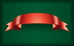 Red ribbon satin banner green Royalty Free Stock Photo