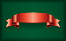 Red ribbon satin bow banner green Royalty Free Stock Photos