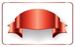 Red ribbon satin bow blank banner Royalty Free Stock Photo