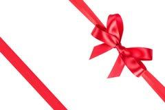 Red ribbon satin bow Stock Photos