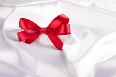 Red ribbon satin bow Stock Images