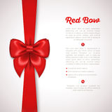Red Ribbon with Satin Bow  on White. Vector Illustration. Invitation Decorative Card Template, Voucher Design, Holiday Invitation Design Stock Photography