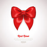 Red Ribbon Satin Bow  on White. Vector Royalty Free Stock Images