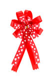 Red ribbon satin gift bow Royalty Free Stock Images