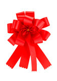 Red ribbon satin gift bow Stock Photos