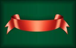 Red ribbon satin green Royalty Free Stock Photo