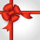 Red ribbon of satin ribbons Stock Photo