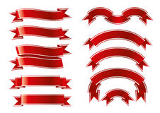 Red ribbon set. On a white background Stock Image