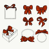 Red ribbon set. bow for decorating various item, vintage bow and boxes, gift and decoration. Sketch Hand drawn graphic vector illustration