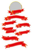 Red ribbon set. Design elements with red ribbons on white background Royalty Free Stock Images