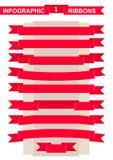 Red ribbon set for remarkable title vector illustration