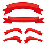 Red ribbon set Royalty Free Stock Images