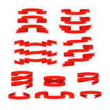 Red ribbon with shadow  banners set Royalty Free Stock Photo