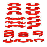 Red ribbon with shadow  banners set Stock Images