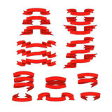 Red ribbon with shadow vector banners set Stock Photography