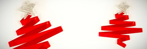 red ribbon in shape of a christmas tree stock images
