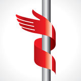 Red ribbon in shape of hand Royalty Free Stock Photo