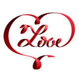 Red ribbon in shape of heart and lettering love Stock Photo