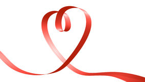 Red ribbon in the shape of heart Stock Photo