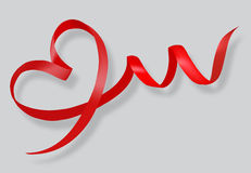 Red ribbon in the shape of heart Stock Images