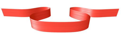 Red ribbon in shape of horizontal loop Royalty Free Stock Photos