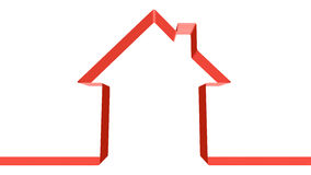 Red ribbon in the shape of house Stock Photo